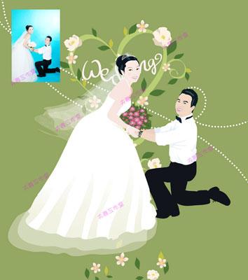 夫妻工作室illustrator手绘插画作品/创意婚礼人物漫画